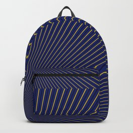Gold Diagonals and Rays on Navy Blue Backpack