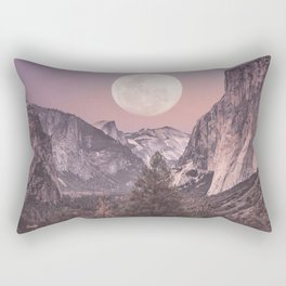 Pastel Full Moon Over Yosemite Park Rectangular Pillow