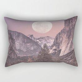 Pastel Full Moon Over Yosemite Park Rectangular Pillow