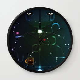 Self Portrait: Raid Boss, Coffee and Constellations Wall Clock