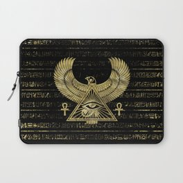 Egyptian Eye of Horus - Wadjet Gold and Black Laptop Sleeve