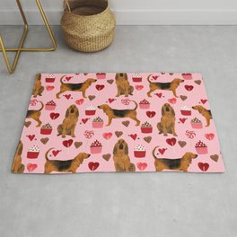 Bloodhounds cupcakes valentines day gifts dog lover pet friendly hearts dog breed Rug