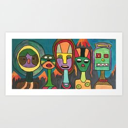 Robot and Owl Become Friends Amidst Lava Art Print