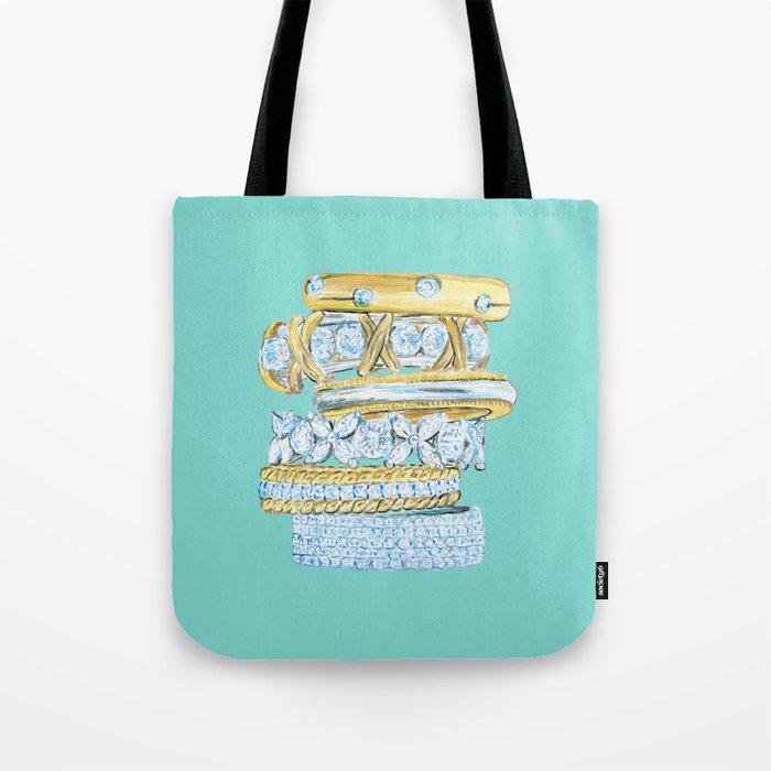Golden Rings on Blue Tote Bag