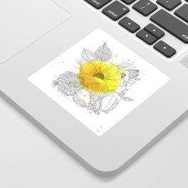 Yellow Floral Burst Sticker
