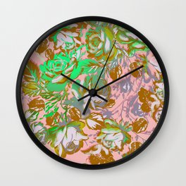 painterly roses on salmon Wall Clock