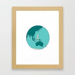 Marathon Runner Around World Drawing Framed Art Print