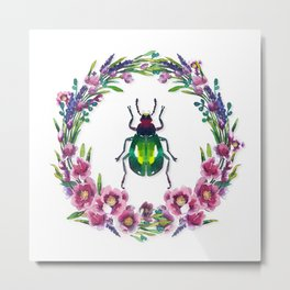 Colourful Beetle with flower wreath Metal Print