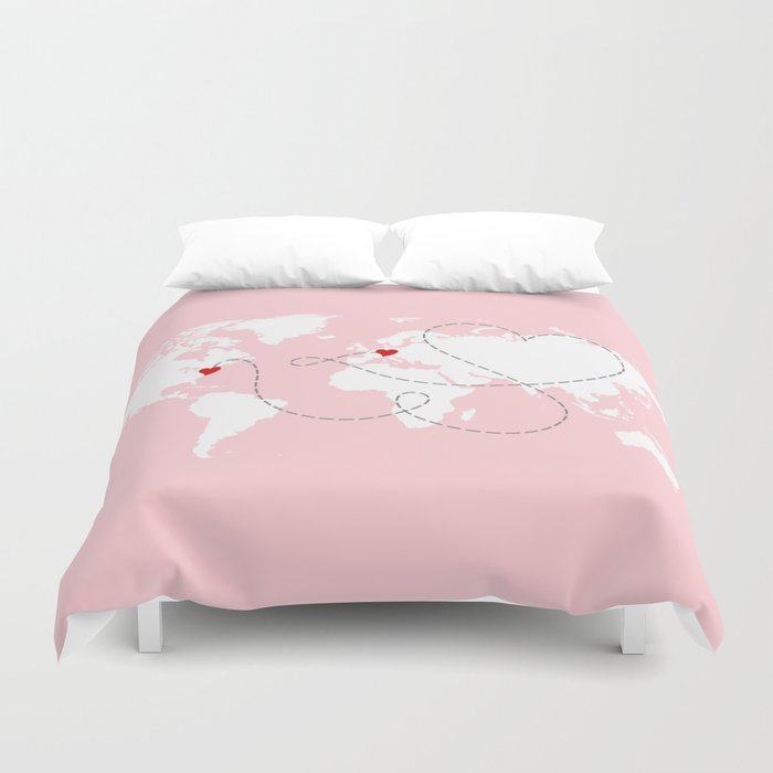 World map in pink usa to europe new york to germany duvet cover world map in pink usa to europe new york to germany duvet cover gumiabroncs Images