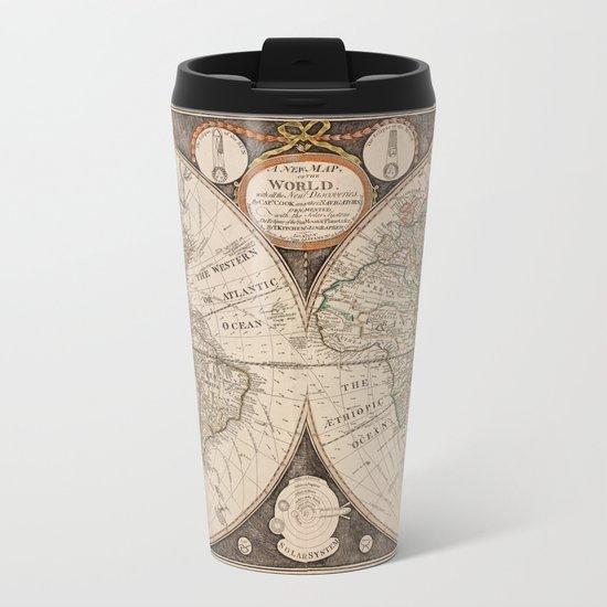 World Map Metal Travel Mug