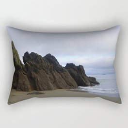 Ocean Rocks with Geological Layers Rectangular Pillow