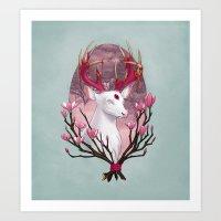 White Stag with Magnolias Art Print