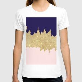 Modern navy blue blush pink gold glitter brushstrokes T-shirt