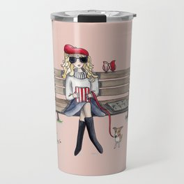 Margaux and her dog at the park Travel Mug