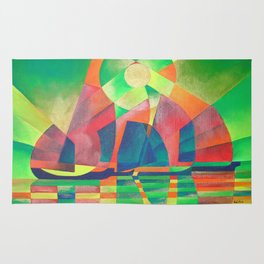Sea of Green With Cubist Abstract Junks Rug