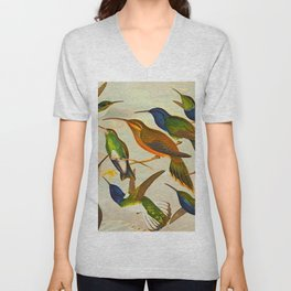 Translate Album de aves amazonicas - Emil August Göldi - 1900 Colorful Hummingbirds Unisex V-Neck