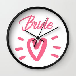 Bride To Be Pink Pulsating Heart Design Wall Clock