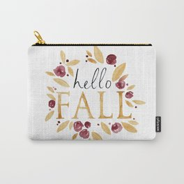 Hello Fall, Autumn Watercolor Painting, Calligraphy, Orange Yellow Carry-All Pouch