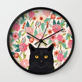Black Cat cat breed floral pattern background pet gifts cats kitten mom gifts Wall Clock