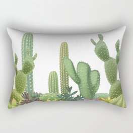 Milagritos Cacti on white background. Rectangular Pillow