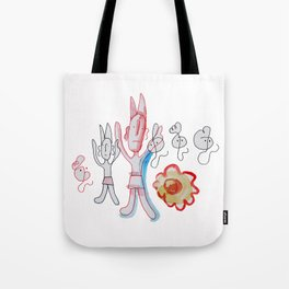 Red Devil With Ghosts and Flower Tote Bag