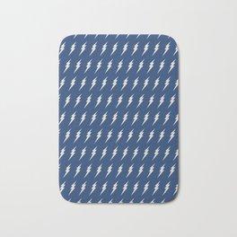 Lightning bolt pattern dark blue and white Bath Mat