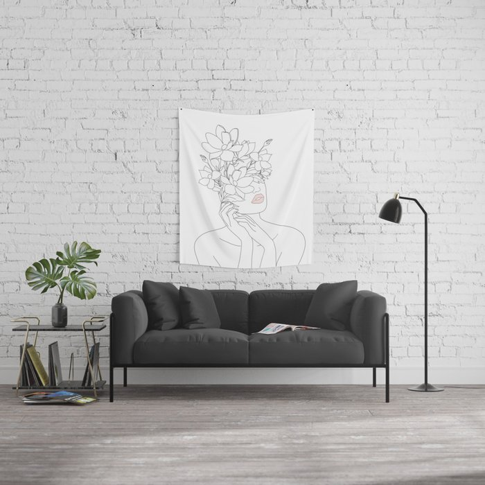Minimal Line Art Woman with Magnolia Wall Tapestry