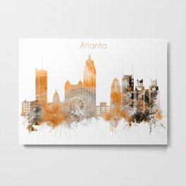 Atlanta Warm Color Skyline Metal Print