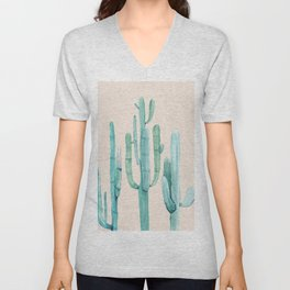 Three Amigos Turquoise + Coral Unisex V-Neck