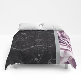 Light Purple Flower Meets Gray Black Marble #6 #decor #art #society6 Comforters