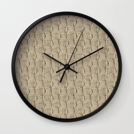 Sepia Knit Textured Pattern Wall Clock