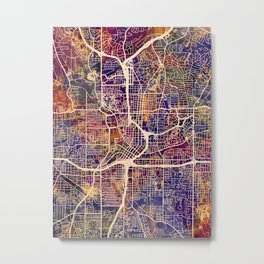 Atlanta Georgia City Map Metal Print