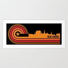 Retro New London Connecticut Skyline Art Print