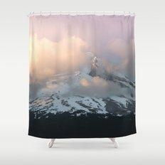 pink fog mountain morning shower curtain