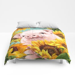 Baby Pig with Sunflowers in Blue Comforters