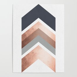 Grey, Bronze Chevron Home Decor Design Poster