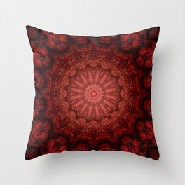 Bright red Bohemian mandala design Throw Pillow
