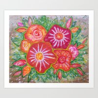 Orange Fantasy Flowers Art Print