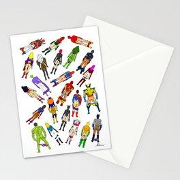 Superhero Butts with Villians - Light Pattern Stationery Cards