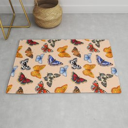 Butterflies on warm terracotta Rug