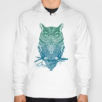owls Hoodies featuring Warrior Owl by Rachel Caldwell