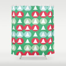 Christmas patter green Shower Curtain