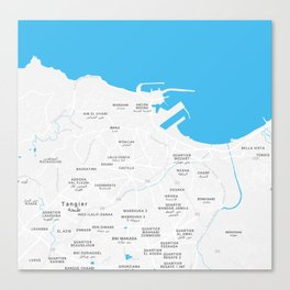 Minimalist Artistic Map of Tangier, Morocco Canvas Print