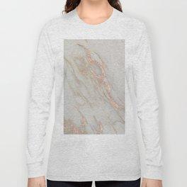 Marble - Rose Gold Marble Metallic Blush Pink Long Sleeve T-shirt