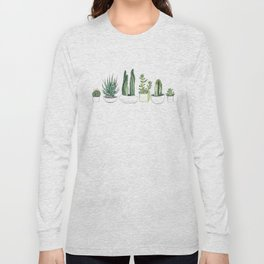Watercolour Cacti & Succulents Long Sleeve T-shirt
