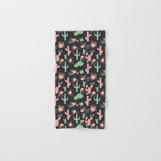 Cactus florals dark charcoal colorful trendy desert southwest house plants cacti succulents pattern Hand & Bath Towel