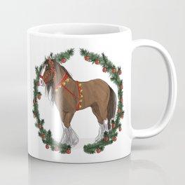 Brown Draft Horse in Merry Wreath Coffee Mug