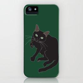 Black Cat Illustrated Print Emerald Green iPhone Case