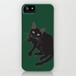 Black Cat Illustrated Print Emerald Green iPhone Case