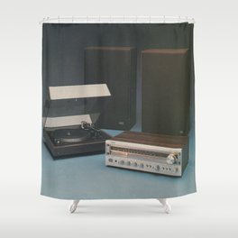 Vintage 1970's HiFi Shower Curtain